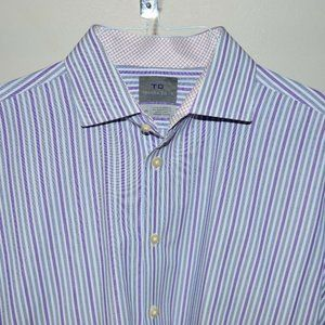 Thomas Dean Blue Purple Gray Stripe Long Sleeve